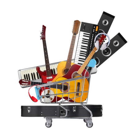 Stack pile collage of various musical instruments in shopping cart. Electric, acoustic and classic guitars, midi piano keyboard .. Store online shop studio music concept isolated white background.