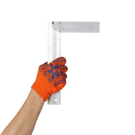 Objects tool hands action - Hand in working glove holds Try square worker isolated white background.