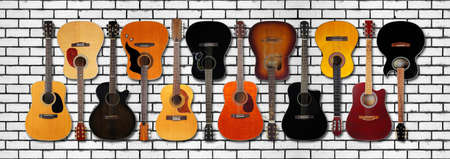 Musical instrument - Very big Banner, collage Front view classic vintage acoustic guitars isolated on a brick wall background. Reklamní fotografie