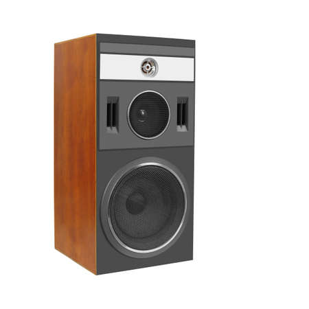 Music and sound - One three way line array loudspeaker enclosure cabinet isolated on a white background.