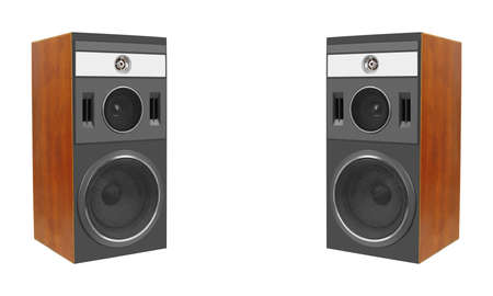Music and sound - Two three way line array loudspeaker enclosure cabinet isolated on a white background. Reklamní fotografie