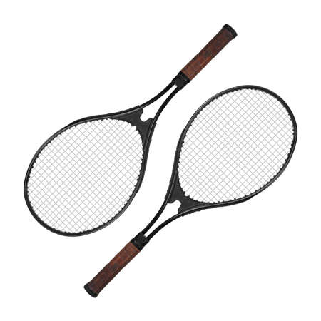 Sports equipment - Two Tennis rackets isolated on a white background. Reklamní fotografie