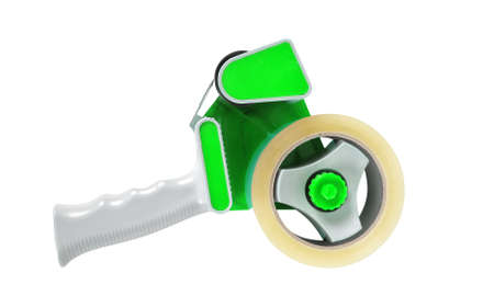 Stationery - Professional green tape dispenseron a white background. Isolated