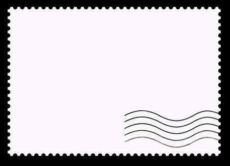 Postage stamps. Clear blank and stamping on a black background.