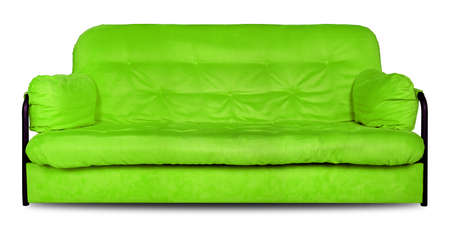 Upholstered furniture - Green modern made of cloth the sofa divan isolated on a white background