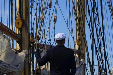 shrouds: CAPITAIN, SAILOR, SHIP Stock Photo