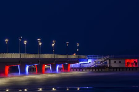 places of interest: Places of Interest - Kolobrzeg pier at night Editorial
