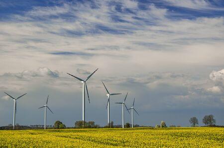 Windpark in SPRING - Bewölkter Himmel und Bäume am Horizont