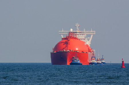 gas supply: LNG TANKER AT SEA - LNG Tanker at sea flows from the gas supply to the port of Swinoujscie.