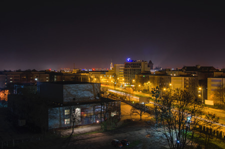laterns: POZNAN - CITY AT NIGHT - View of the city at night from hotel window
