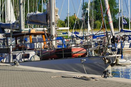 shrouds: Yachts in marina in Kolobrzeg - Yacht moored to the quay in the marina in Kolobrzeg