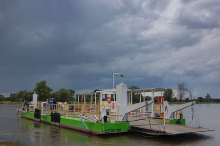BRODY, LUBUSKIE  POLAND: Ferry River flows through the river Odra. Local ferry across the river Oder in the village of Brody. Passage shortens the path to the city of Zielona Gora