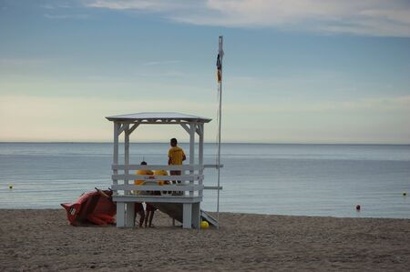 KOLOBRZEG, WEST POMERANIAN  POLAND: Lifeguards are on duty at the sea beach in Kolobrzeg