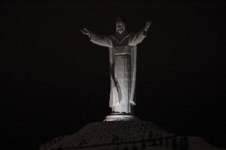 floodlit: Swiebodzin, LUBUSKIE  POLAND - DECEMBER: Statue of Christ the King floodlit