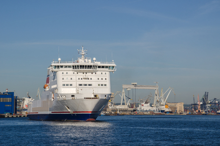 infrastructures: PASSENGER FERRY IN PORT. Passenger Ferry setting out to sea