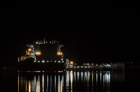 navy pier: LNG TANKER AT NIGHT Stock Photo