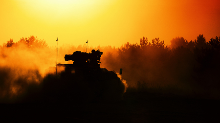 ARMORED INFANTRY FIGHTING VEHICLE - military vehicle in the forest at sunset Stock Photo