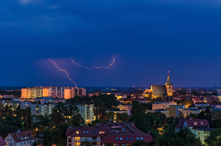 LIGHTNING IN THE NIGHT SKY - Over the rooftops of Kolobrzeg