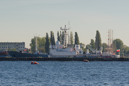 Gdynia, Poland - 2016: Polish Navy ship ORP Hydrograf is moored quay of the Port of war