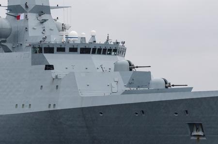 FRIGATE - Portrait of a Danish naval ship at sea Stock Photo