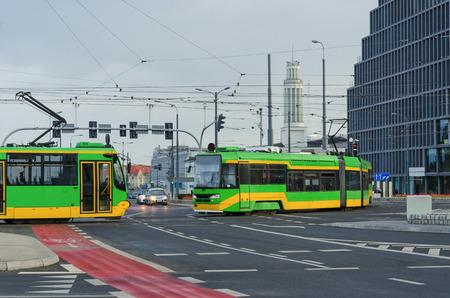 近代的な都市、現代の輸送 - ポズナン市の風景 写真素材