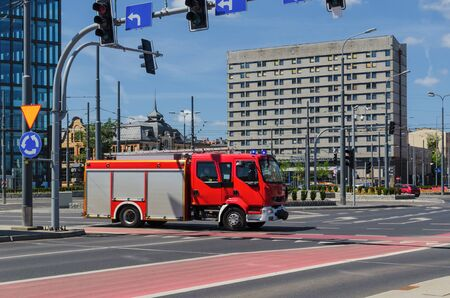 poznan: FIRE BRIGADE - Fire truck in the city Stock Photo