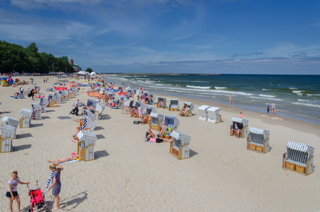 KOLOBRZEG, WEST POMERANIAN / POLAND: Holiday on the Baltic Sea beach