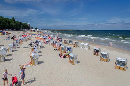 KOLOBRZEG, WEST POMERANIAN / POLAND: Holiday on the Baltic Sea beach