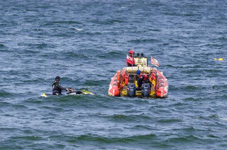 KOLOBRZEG, WEST POMERANIAN  POLAND: Motorboat of the Polish Maritime Rescue Service SAR on patrol of coastal waters