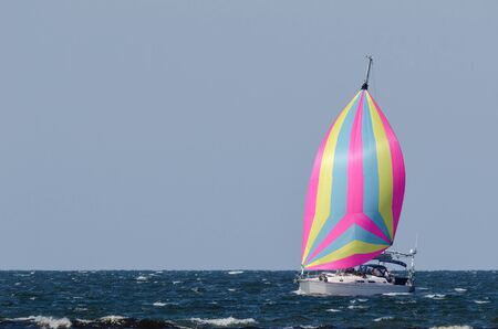 spinnaker: SAILING - Sail yacht of sea filled with wind