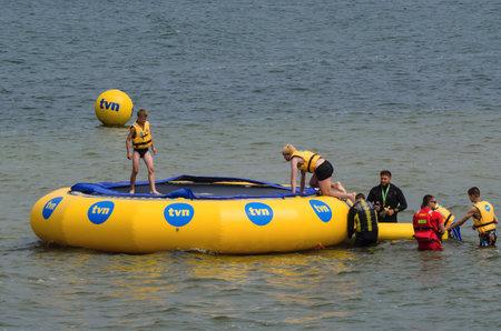 KOLOBRZEG, WEST POMERANIAN  POLAND: Holiday entertainment for tourists by the sea Editorial