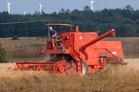 WEST POMERANIAN  POLAND: Harvester in the field during the harvest