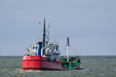 TANKER - red ship to carry fuel at sea Stock Photo - 85340553