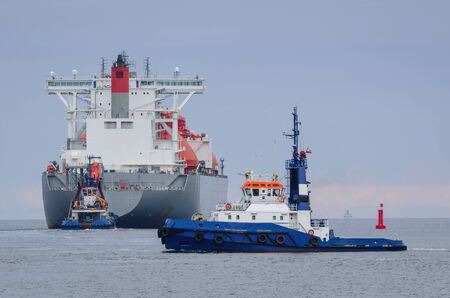 GAS CARRIER - LNG Tanker is flowing to the sea