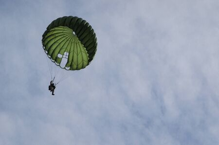 PARACHUTE JAMP - Jump of a soldier of airborne troops