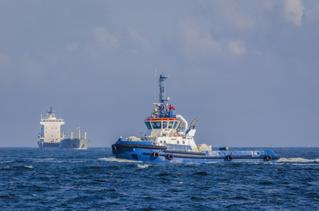 TUG AND SHIP - Sea traffic on the waterway