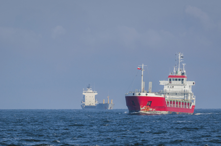 MERCHANT VESSEL - Two cargo ships at sea
