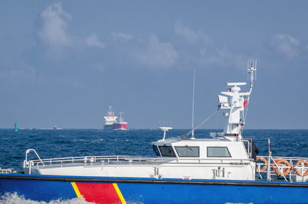 MOTORBOAT - Border Guard boat on patrol Stock Photo