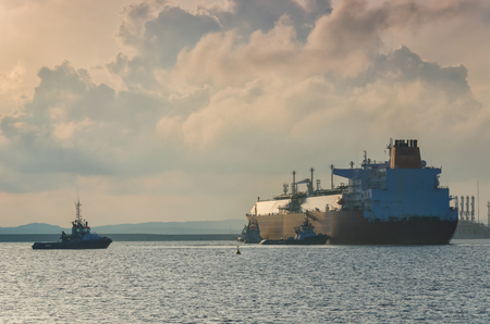 An LNG tanker at the LNG terminal Stock Photo - 93749140