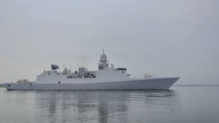 WARSHIP - Frigate sails to sea for patrol