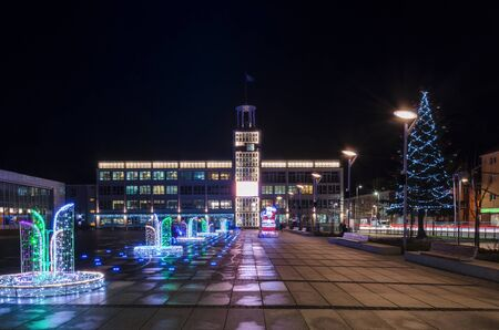 CITY AT NIGHT - Christmas illumination on the town hall square