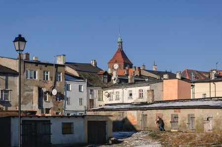 CITYSCAPE - Old town houses Darlowo from the back Stock Photo