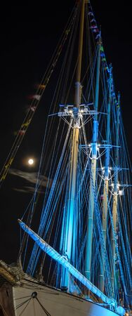SAILING VESSEL - Ship at night in the port