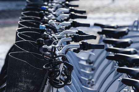 CITY BIKES - Vehicles in the dock Stock Photo