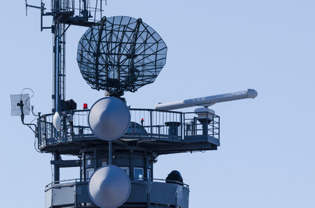 WEST POMERANIAN  POLAND - 2018: Military radiolocation equipment to control the situation at sea