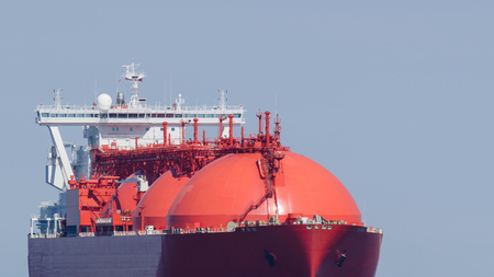 LNG TANKER - A big red ship on the sea Stock Photo - 103119339