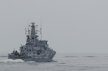 WARSHIP - Swedish minehunter sails to sea for patrol