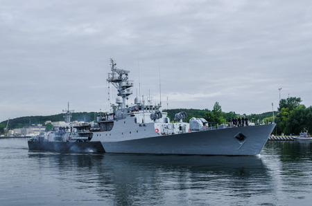 GDYNIA, POMERANIA REGION  POLAND - 2018: The Polish corvette ORP Kashub flows out to sea Editorial