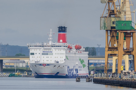 GDYNIA, POMERANIA REGION  POLAND - 2018: The passenger and car ferry STENA SPIRIT is sailing out to sea