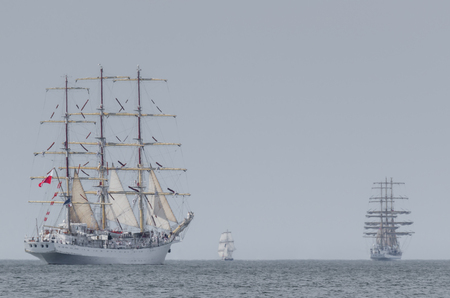 SAILING VESSELS - frigate at sea 免版税图像